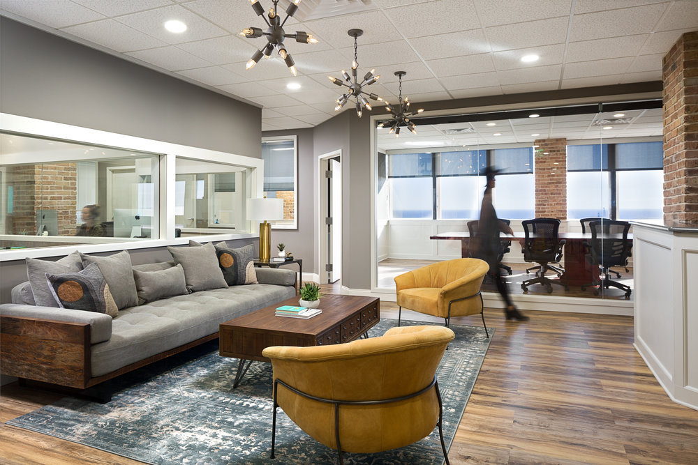 Modern office style Office Furniture Main Lobby Area Looking Into Conference Room Native House Photography Lisa Gilmore Design Design Project Casual Office Style With An Industrial Flair Lisa
