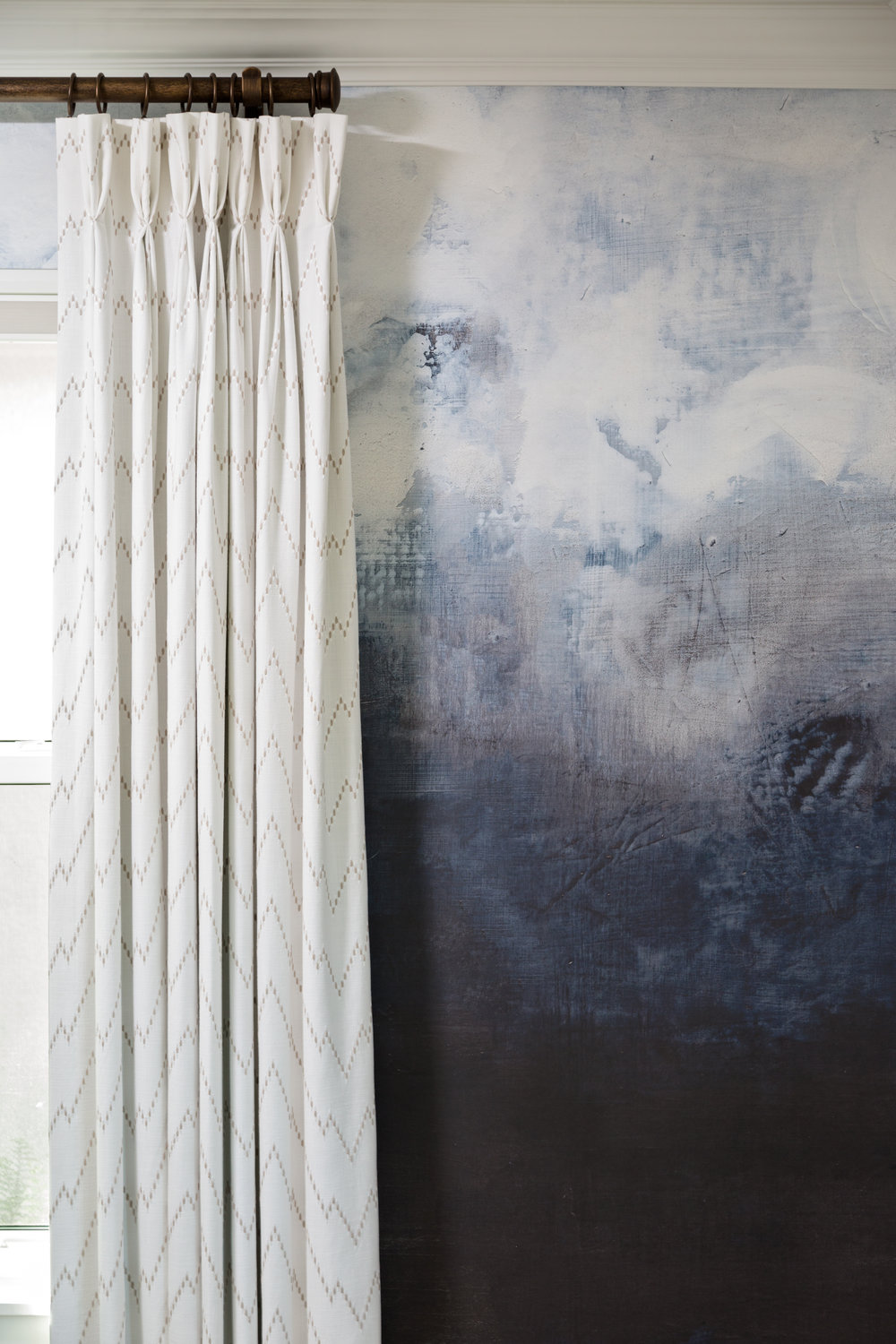 A Moody Wallpaper Mural to Set the Tone in this Master Bedroom by Lisa Gilmore Design