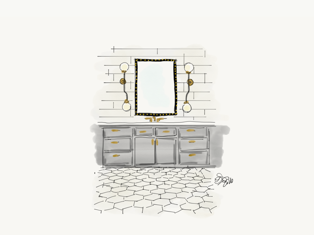 Original concept sketch for master bathroom.