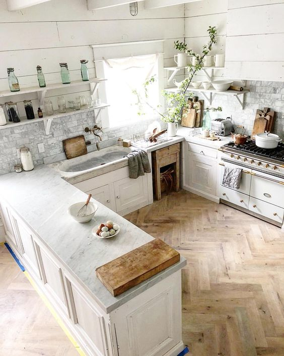 Design via Dreamy Whites Blog personal home:  http://dreamywhites.blogspot.com/2016/04/french-inspired-kitchen-makeover-french.html    Pro Tip: To help remove stubborn stains use a  poultice paste, and thank me later!