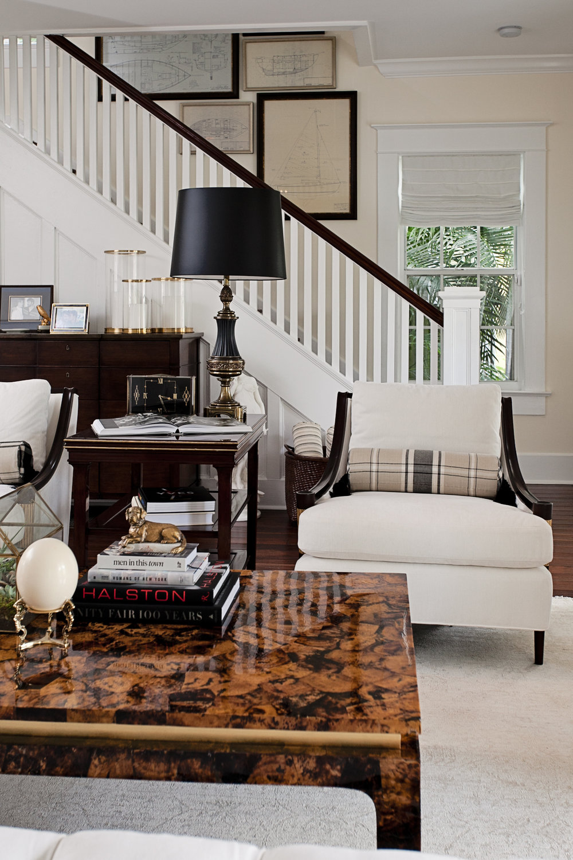 Black and white formal living room by Lisa Gilmore Design
