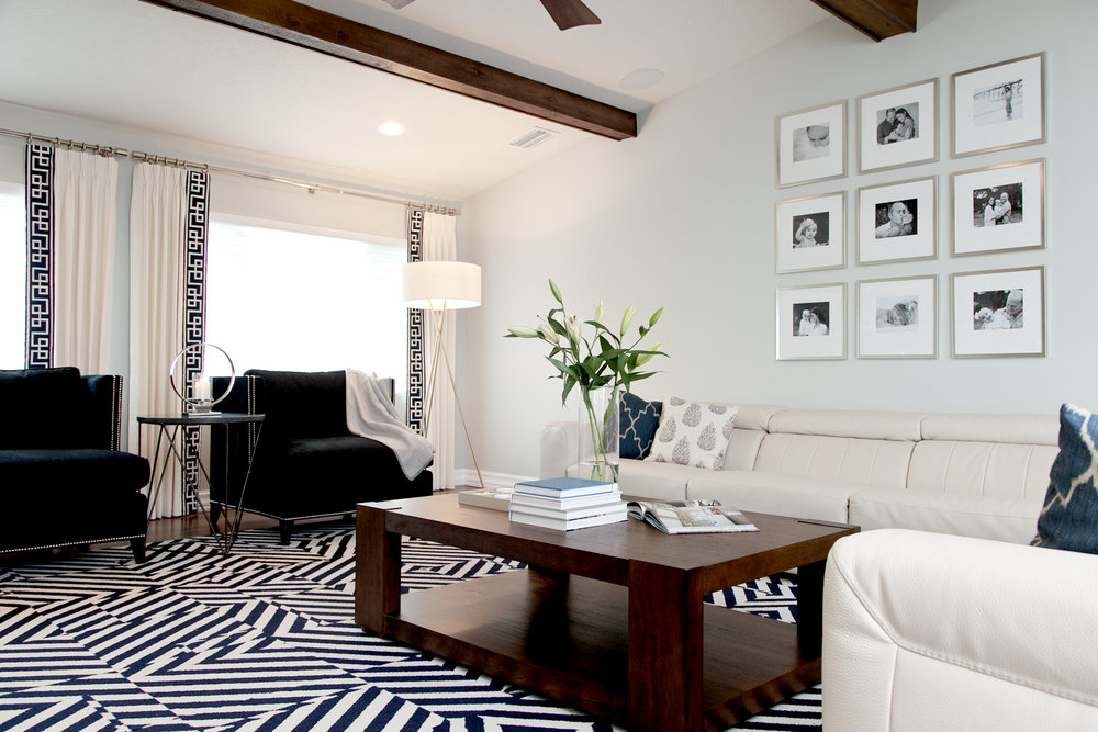 Navy & white living room by Lisa Gilmore Design