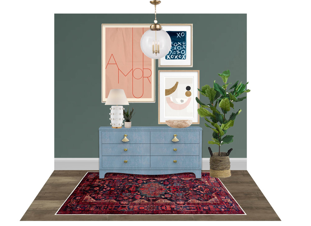Lisa Gilmore Design- Foyer Inspo  (pops of color, fun art, light and bright)