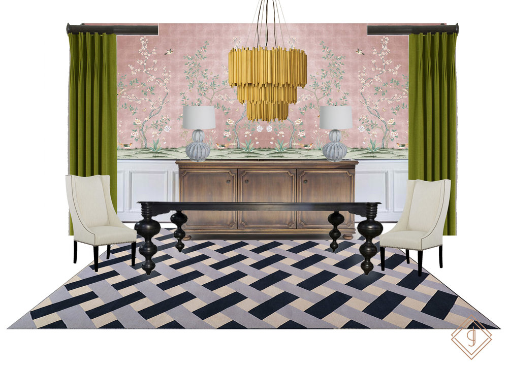 Lisa Gilmore Design- Charleston Inspired Dining Room