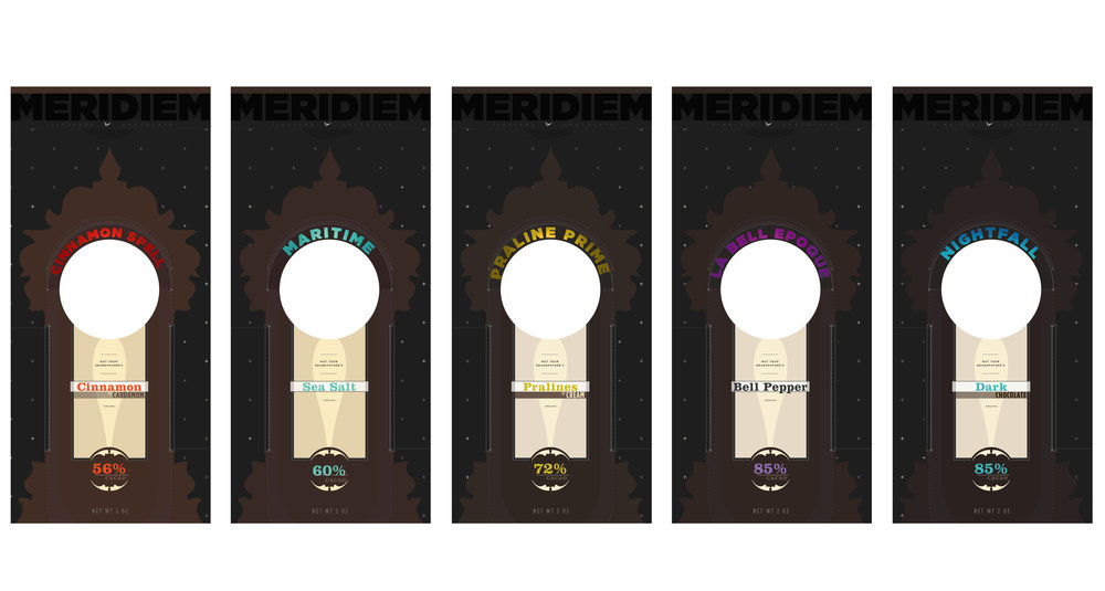 Meridiem Timeless Chocolate is a personal project fueled by the desire to envision a chocolate brand whose brand identity reflects the magic in experiencing really good chocolate.  The concept of time transcendence emphasizes the transportive quality of chocolate, a return to the charm of childhood, and an anytime-is-chocolate-time philosophy.  I turned to the dark whimsy of fairytales and tarot cards to inform the visual concept.