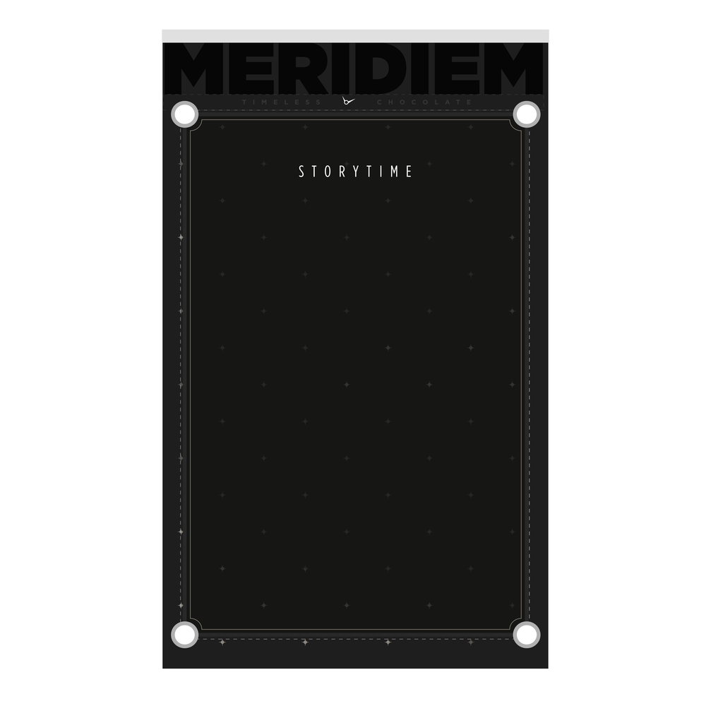 Meridiem Timeless products contain inserts illuminating the brand mythology (complete with its own product hero, Grandfather Clock) and unique chocolate making process.
