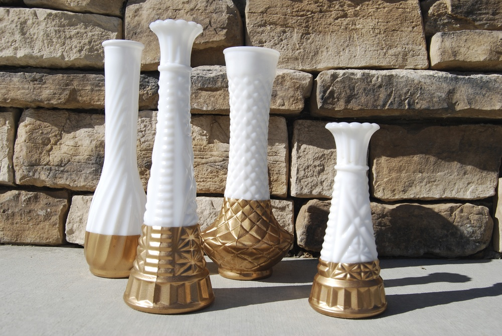 HAZEL GOLD-DIPPED MILKGLASS VASES (set of 4)