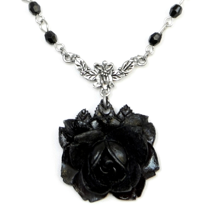 Gothic victorian silver necklace with black rose jet black beads gothic victorian silver necklace with black rose jet black beads by velvet mechanism aloadofball