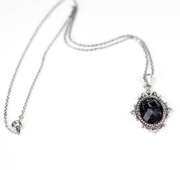 Gothic Noir Victorian Style Filigree Frame Necklace with Dark Purple ...