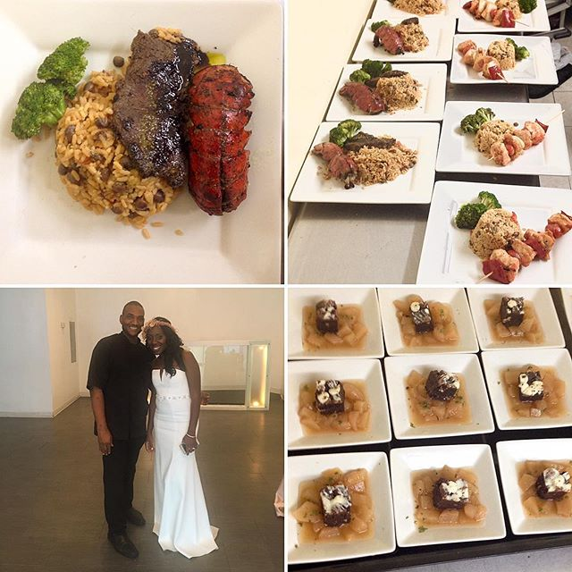 Jerk surf and turf (lobster and ribeye) , peas and rice (saki poached pear with a double chocolate brownie) for beautiful newlywed bride Kadia Darby on Monday August 8,2016. Congratulations to the happy couple. Much thanks to @weddingpix and @daphneelaurenevents for choosing me to provide the food.