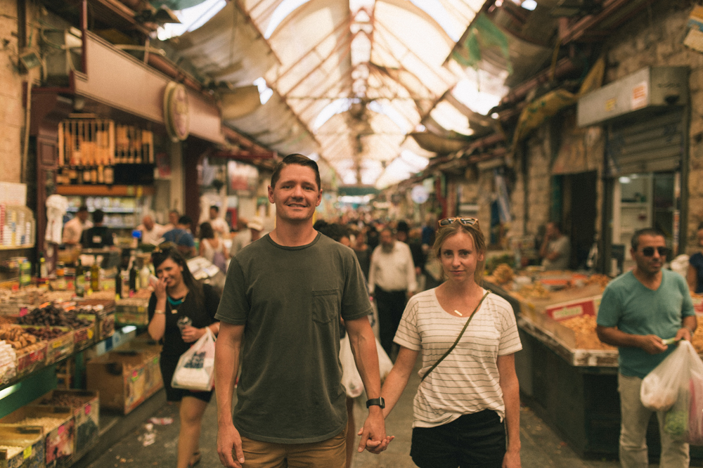 Derrick and his wife Laurel, pastors of Mosaic Church San Diego, in the Mahane Yehuda Market in Jerusalem, Israel.
