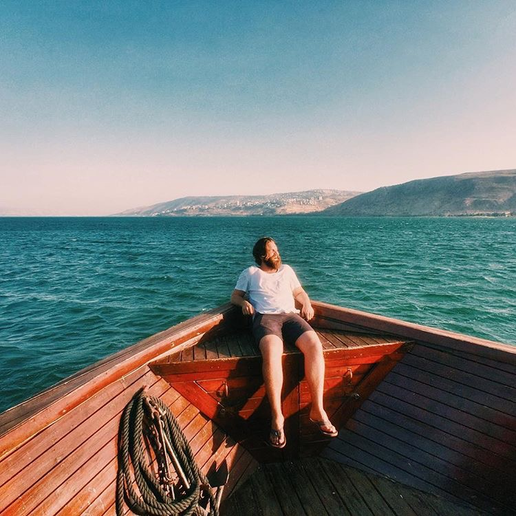 @ryanhappygilmore  on the Sea of Galilee, photo taken by  @imalbertabound