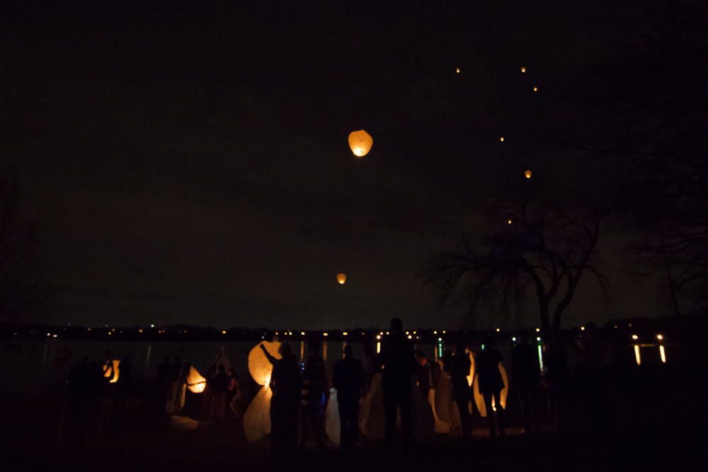 A lantern send-off over the lake