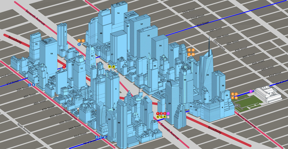 A 3-D Map of Class-A Office Buildings in Times Square