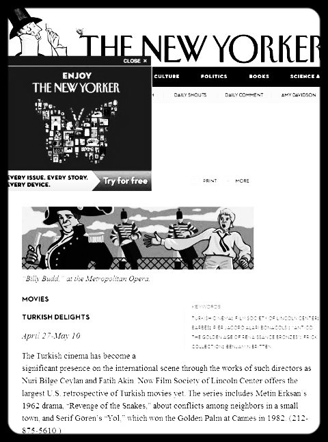 Turkish Delights,  New Yorker , April 23, 2012