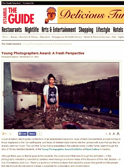 Young Photographers Award: A Fresh Perspective,  The Guide Istanbul , November 15, 2013