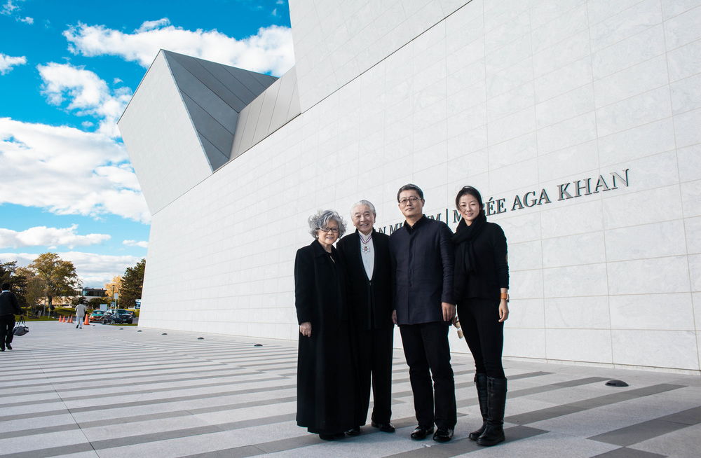 Li Xiaodong, the winner of the inaugural Moriyama Prize of $100 000  with his wife along side Ray and Satchi Moriyama infront of the Aga Khan Museum.