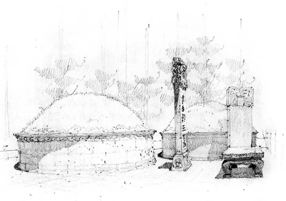 Burial mound, Hangzhou, China.  Pencil.