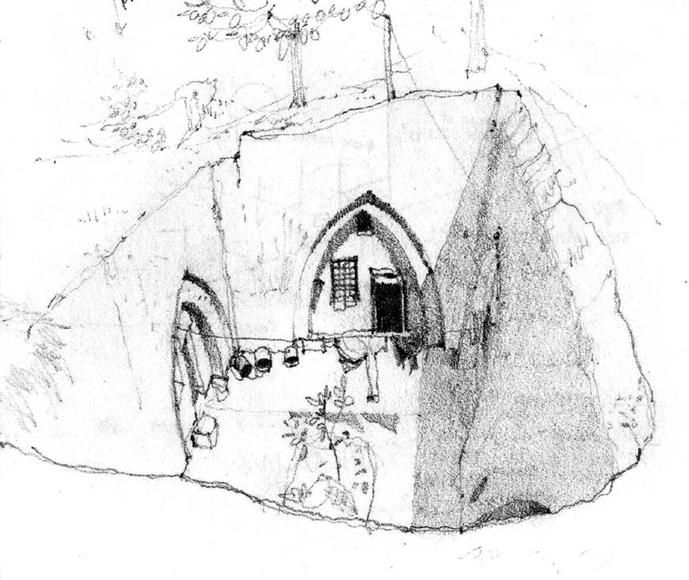 Subterranean dwelling, Xian, China.  Pencil.