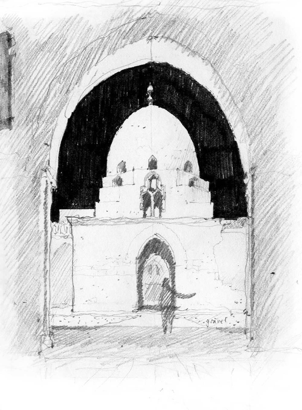 Ibn Tulun, Cairo, Egypt.  Pencil and felt-tip pen.