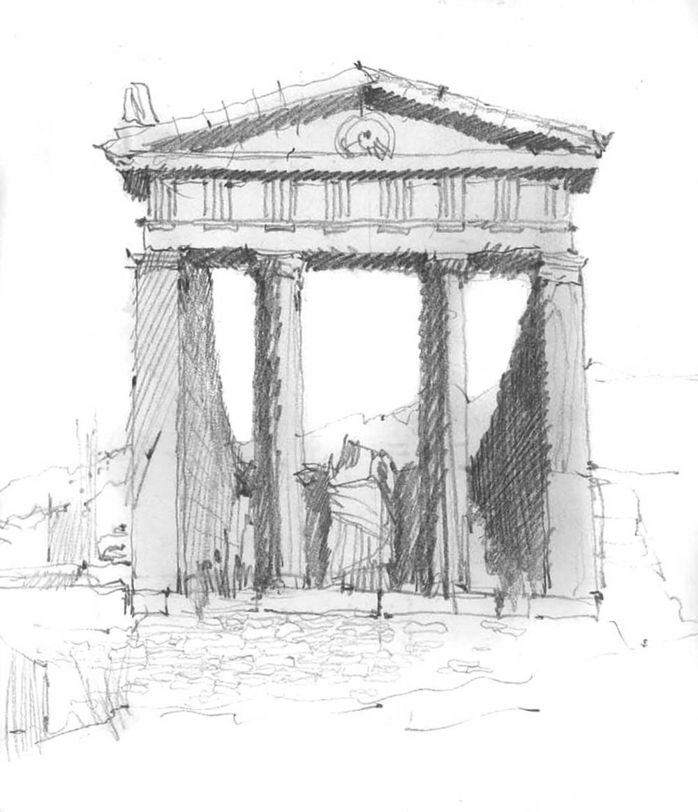 Sarapis Temple, Delos, Greece.  Pencil.