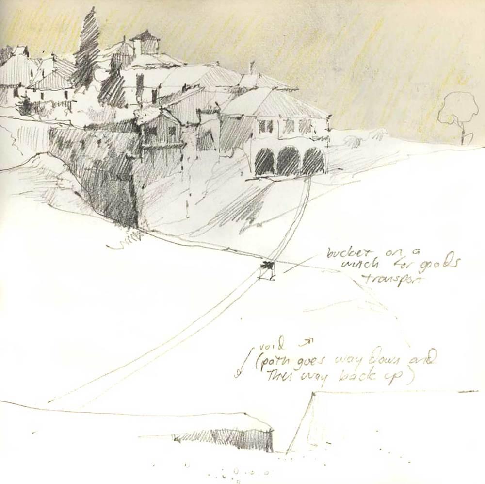 Monastery, Meteora, Greece.  Pencil.