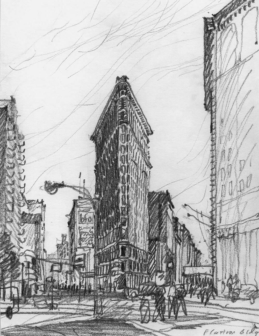 Flatiron Building, New York City.  Pencil.