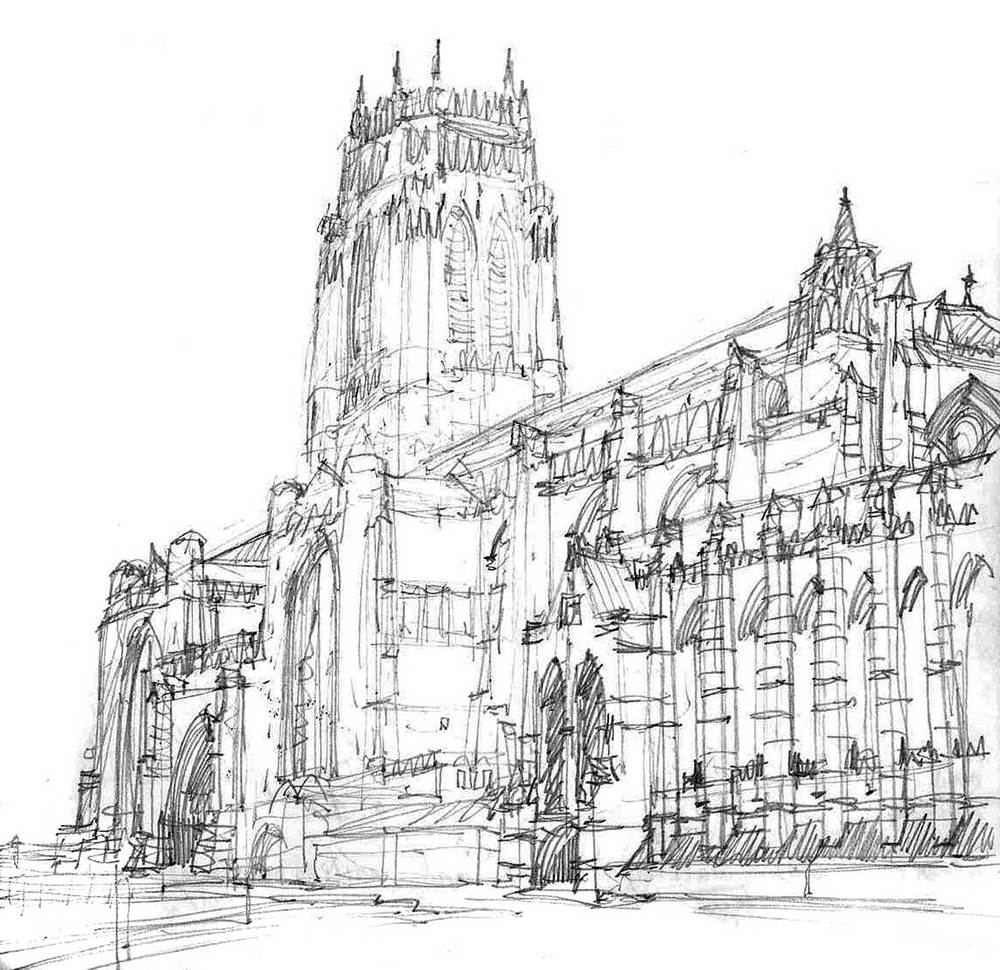 Liverpool Anglican Cathedral, Liverpool, England.  Pencil.