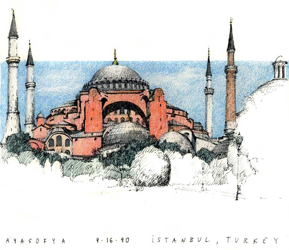 Ayasofya, Istanbul, Turkey.  Felt-tip pen and colored pencil.