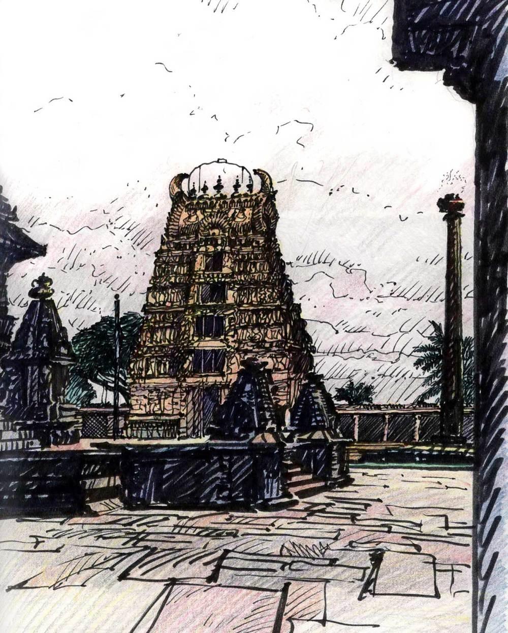 Belur Temple, Belur, India.  Felt-tip pen and colored pencil.