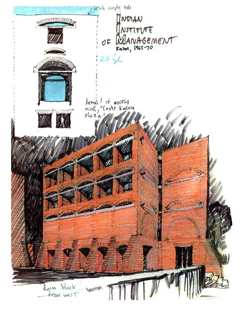 India Institute of Management, Ahmedabad, India.  Felt-tip pen and colored pencil.