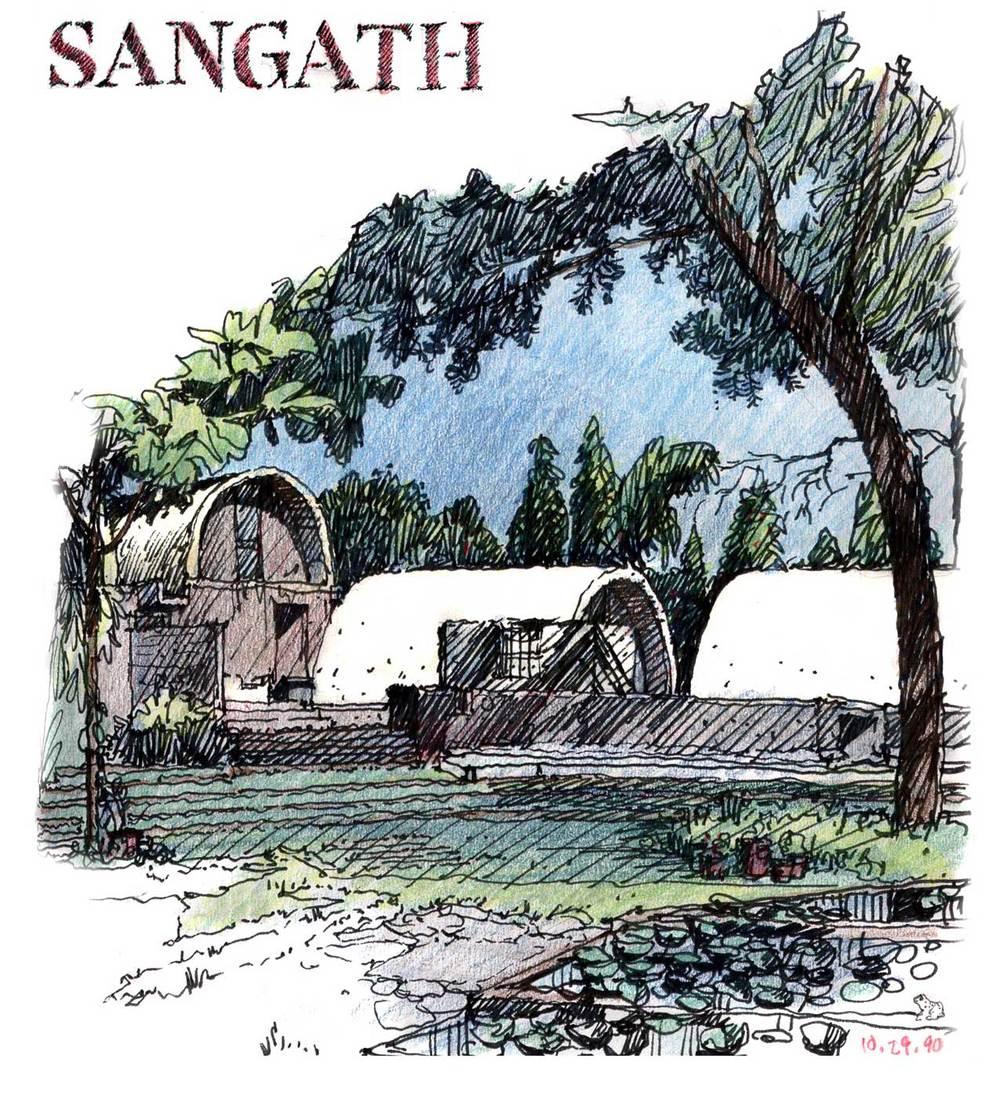 """Sangath"" compound, Ahmedabad, India.  Felt-tip pen and colored pencil."