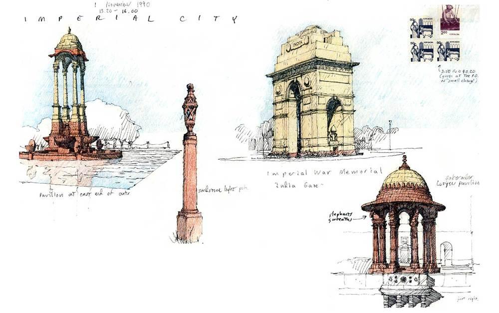 Rajpath features, New Delhi, India.  Felt-tip pen and colored pencil.