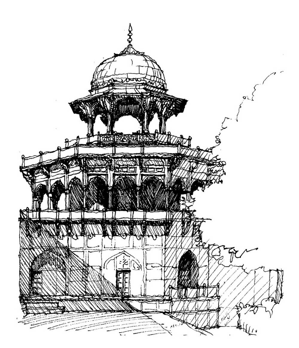 Taj Mahal southwest tower, Agra, India.  Felt-tip pen.