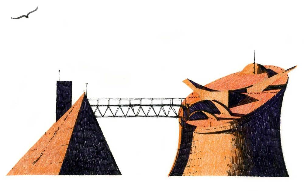 Assembly Building roofscape, Chandigarh, India.  Felt-tip pen and colored pencil.