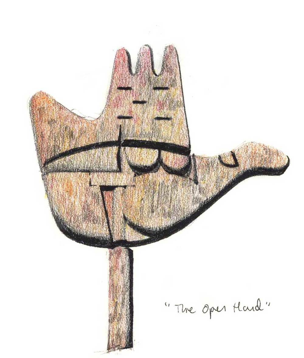 """The Open Hand"" sculpture, Chandigarh, India.  Felt-tip pen and colored pencil."