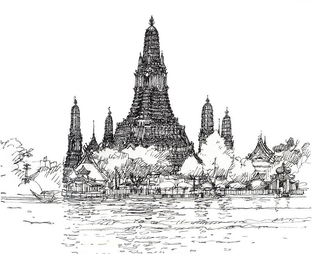 Wat Arun, Bangkok, Thailand.  Felt-tip pen.