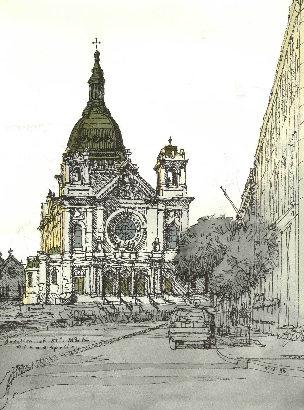 Basilica of St. Mary, Minneapolis.  Permanent pen and watercolor.