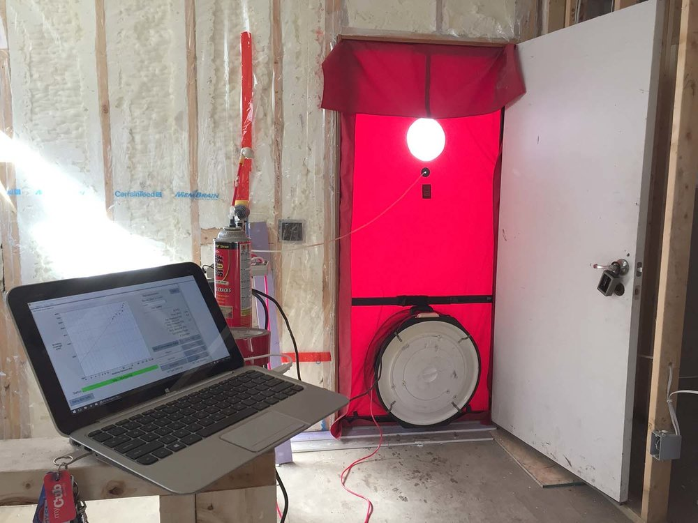 It's likely that the final blower door test, near the end of construction, will result in a slightly better number than today's.