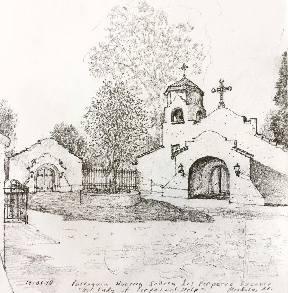 Church and courtyard, Mendoza, Argentina.  Pencil.