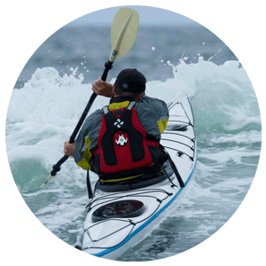 Marc is pictured here paddling a Lincoln Isle Au Haut.