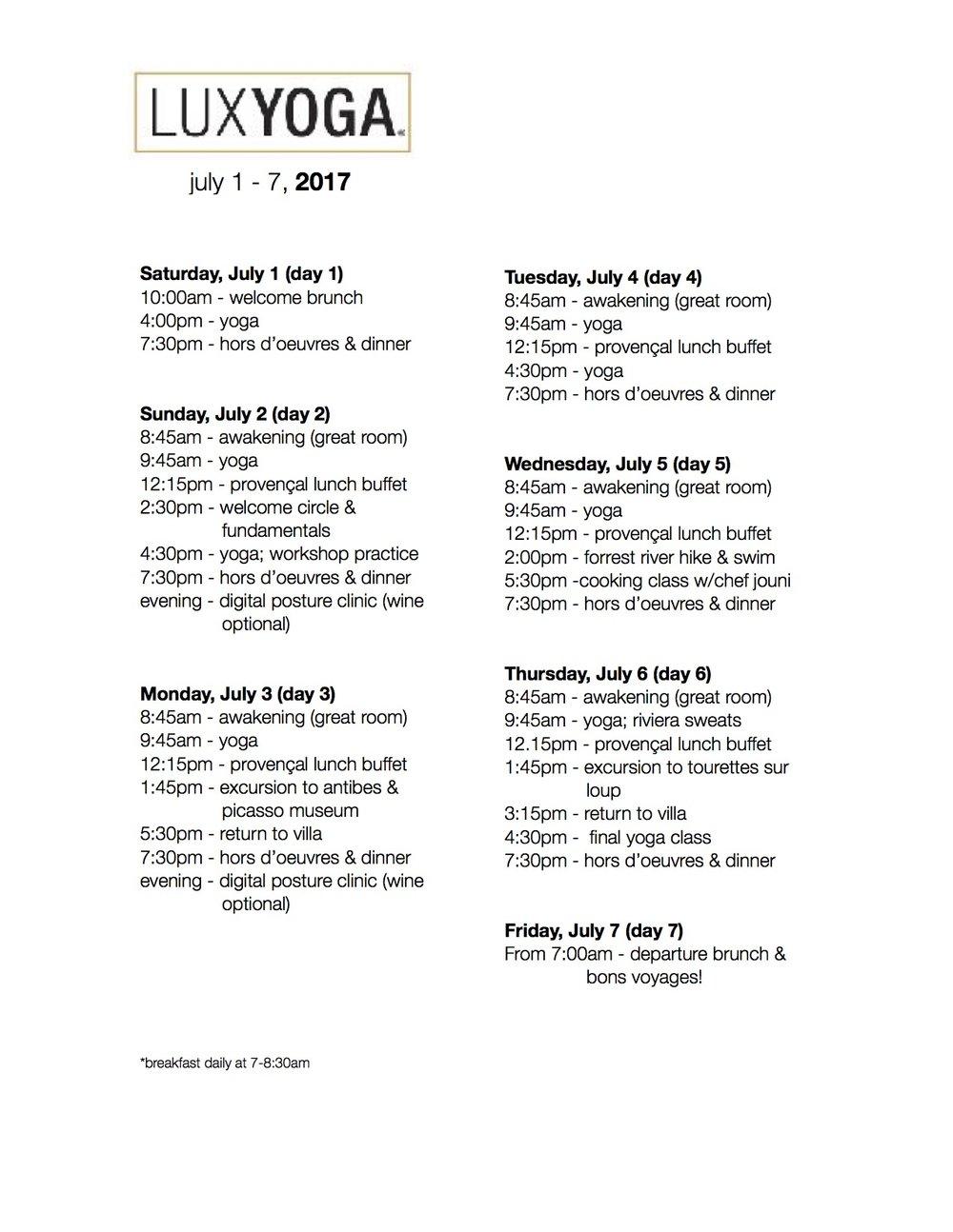 Last Year's Schedule