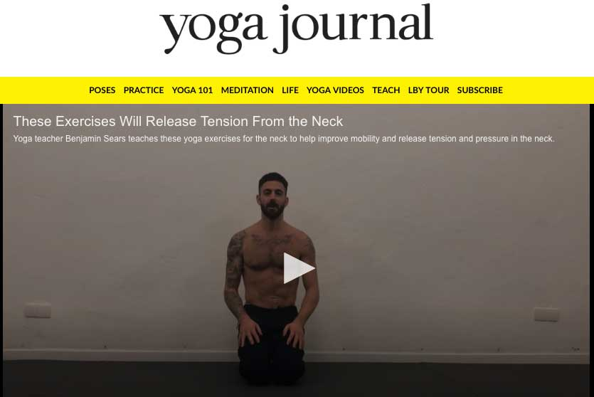 FEATURE ON  YOGA JOURNAL   Is the tightness in your neck affecting your yoga practice? In this short video, yoga teacher Benjamin Sears teaches simple, yet powerful exercises for neck mobility and neuromuscular awareness. He also delves into how to adjust a popular posture, Downward Facing Dog, to take the pressure out of your neck.