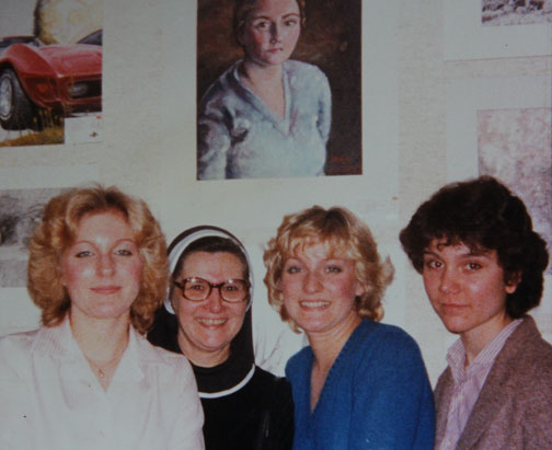Sr. Lucia, two classmates and I at the Scholastics competition in 1980.