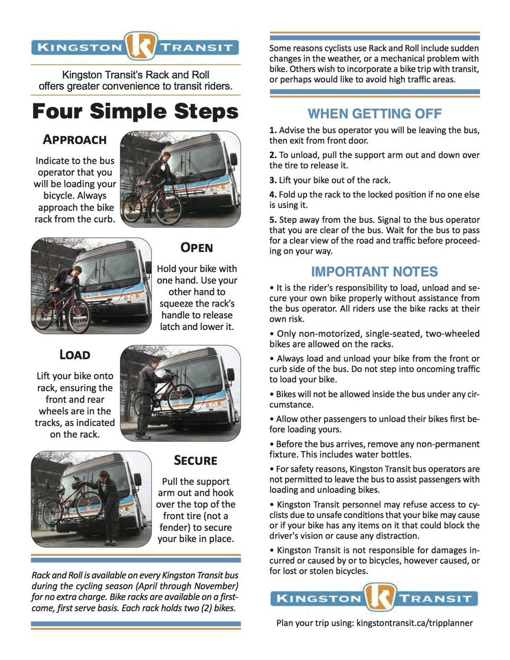 Kingston Transit Rack and Roll Guide