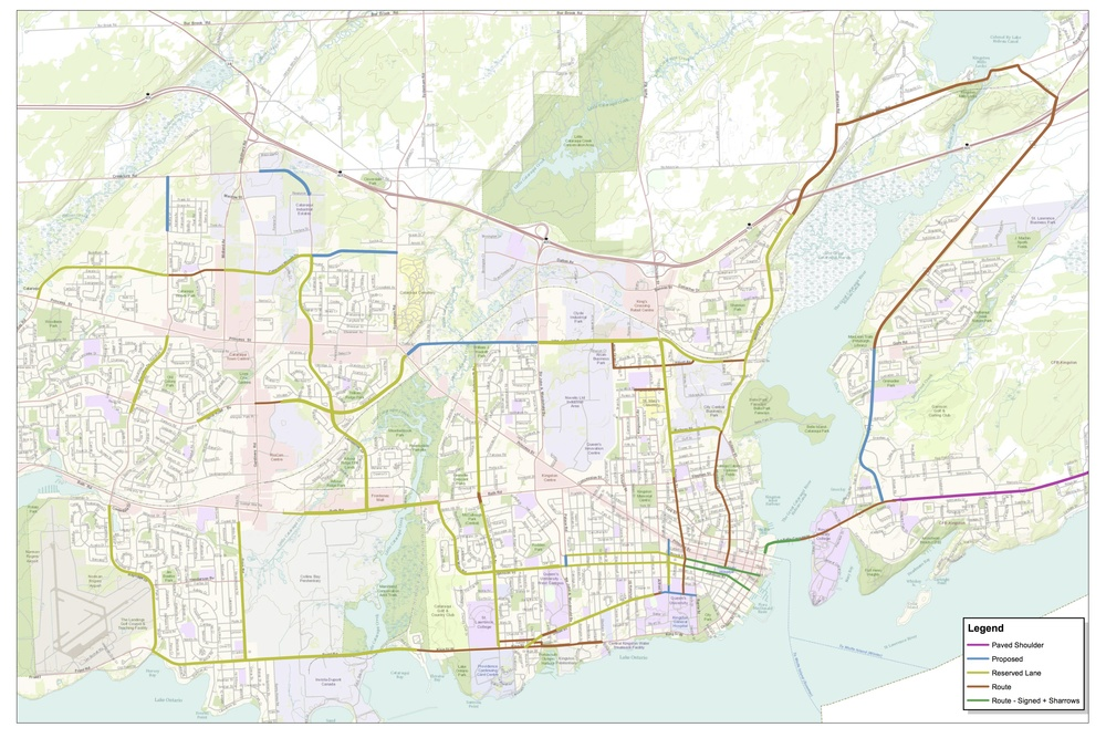 Kingston Cycling Route Map courtesy of City of Kingston - Engineering Dept