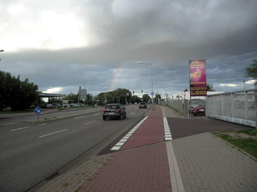 Meine Einfahrt nach Magdeburg - das Wetter verschlechtert sich...