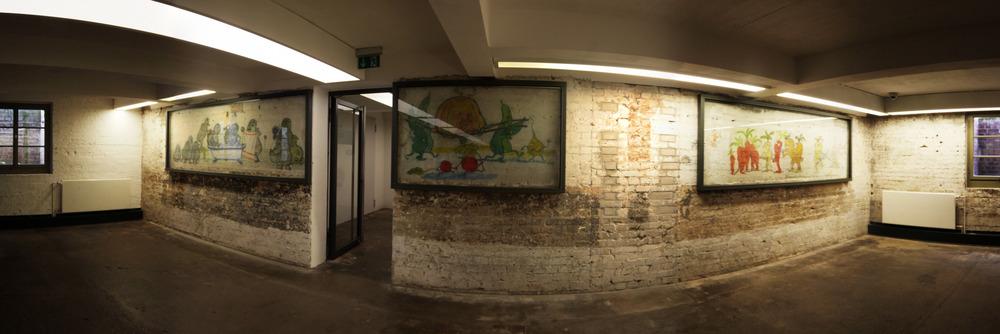 Wansmalereien im Keller der Küchenbaracke des Lager Sachsenhausen