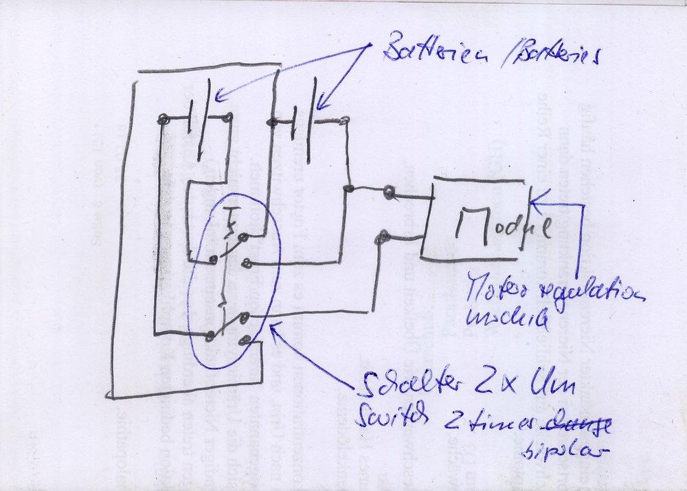 Schaltplan zur Veränderung der Batterieschaltung / Wiring plan to change the Battery wiring
