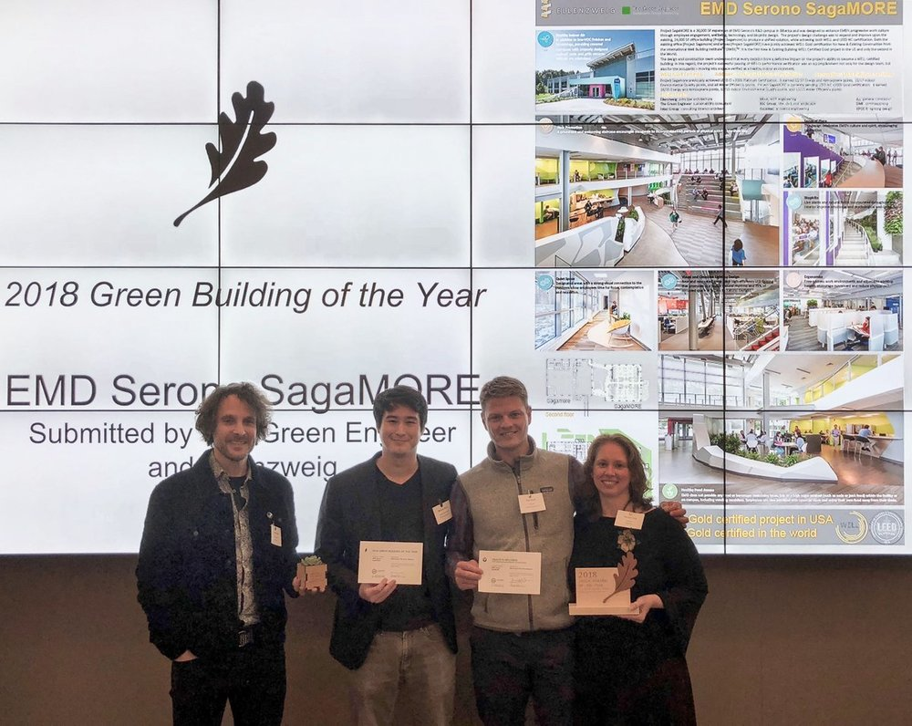 Project team members from both The Green Engineer and Ellenzweig received the Green Building of the Year Award as well as the Market Leader for Health & Sector Award for EMD Serono's Project Sagamore at the 2018 Green Building Showcase.